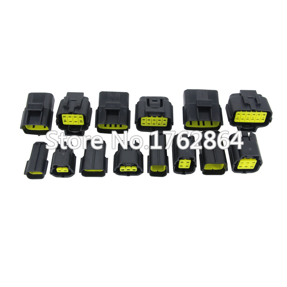 7 Sets Kit 2,3,4,6,8,10,12 Pin Way Waterproof Wire Connector Plug Car Auto Sealed Electrical  Connector 50 sets dj3121y 1 6 11 21 deutsch connectors 12 pin dt04 12p dt06 12s automobile waterproof wire electrical connector plug