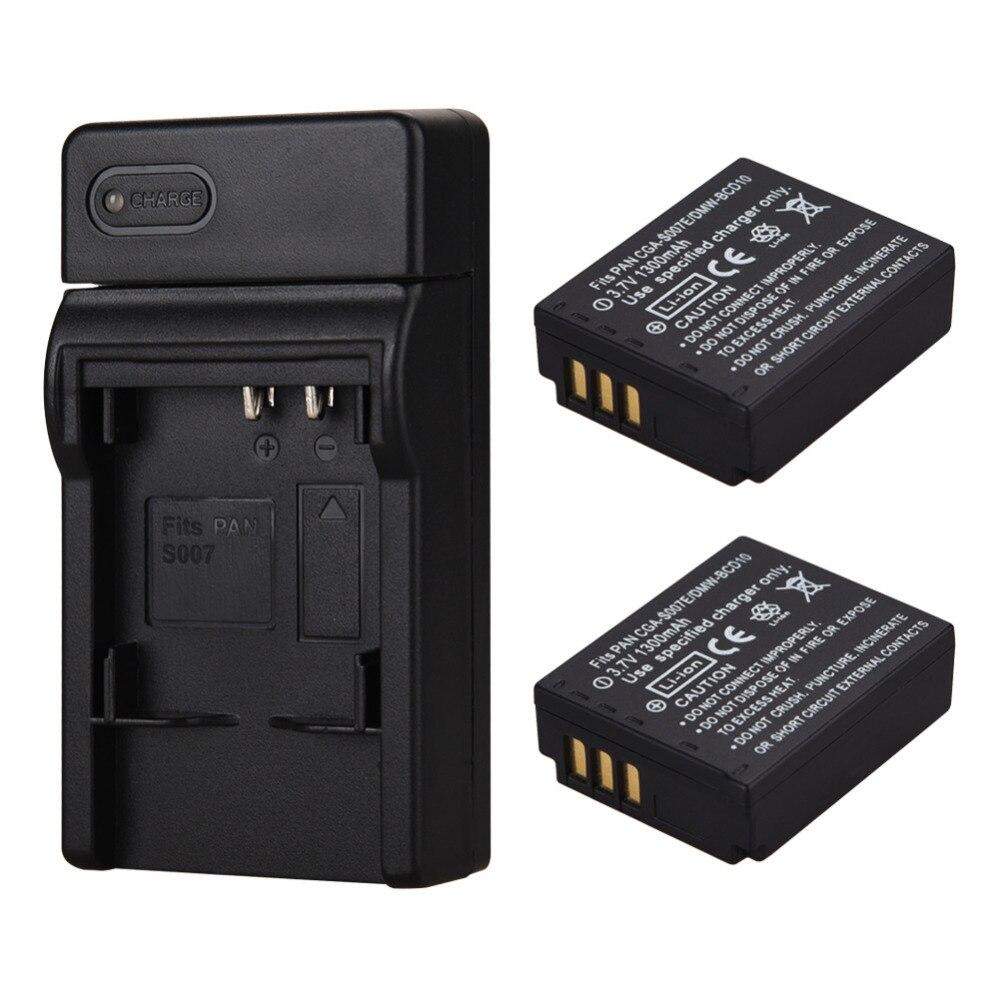 2x1300 mah Batterien CGA-S007 CGR-S007E Wiederaufladbare Li ionen Akku Für Panasonic Lumix DMC TZ1 TZ2 TZ3 TZ4 TZ5 TZ50 TZ15