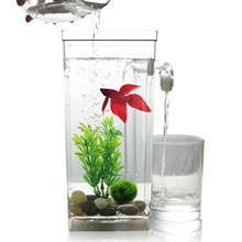 Plastic Ecological Fish bowl Slacker Desktop Aquarium Mini Fish Tank Box goldfish jar with led light desktop Small aquarium