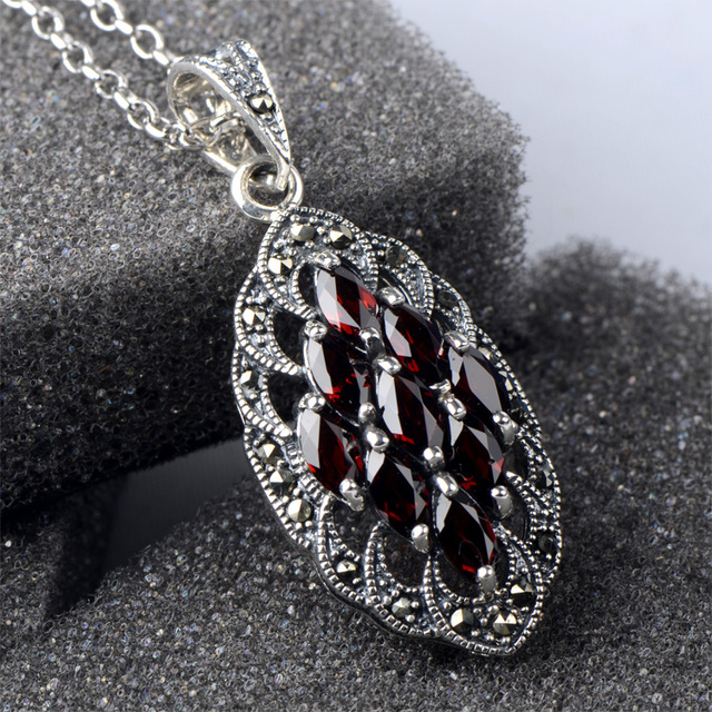 2017 new arrival garnet 925 sterling silver ladies Luxury gem pendants necklaces jewelry wholesale 46cm for women jewelry gift