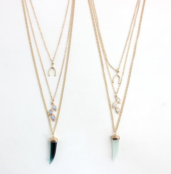 Collares de múltiples capas de oro Wish hueso collar colgante cuerno collares largos para mujeres(