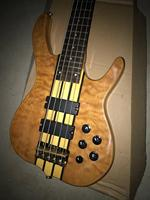 free shipping 5 Strings Ken bass Smith bass Golden Hardware with Active pickup Burl Top & Back electric guitar Bass
