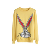 Autumn women's sweet Bugs Bunny Cartoon Pullover Knitted slim Sweater long sleeve Christmas jumper tops