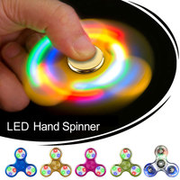 Fidget Crystal LED Spinner Flash Light Hand Spinner EDC Tri Finger LED Spiner For Autism ADHD Relief Focus Stress relax toy Gyro