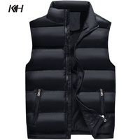 KH New Men's Sleeveless Outerwear Coat Fashion Winter Waistcoat Vest Man Casual Thicken Warm Cotton Padded Vests Plus size S~6XL