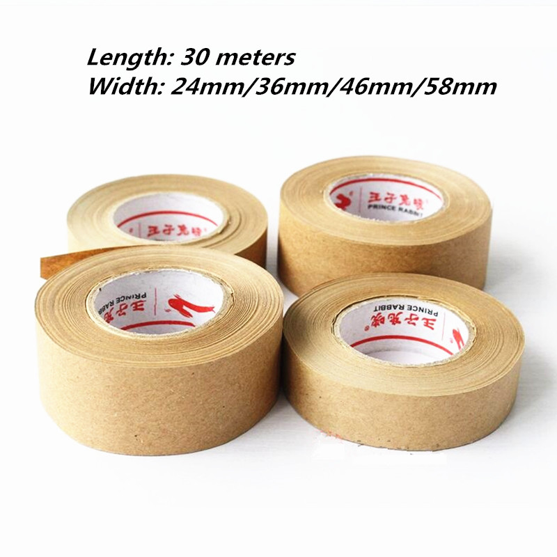 1 Roll 30m Kraft Paper Tape Bundled Adhesive Paper Tapes Sealed Water Activated Carton Painting Sticker For Art Painting Tape