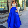 2017 Royal Blue A-Line Satin Evening Dresses Sequins Deep V-Neck Long Elegant Cheap Burgundy Party Prom Dress Robe De Soiree