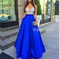 2017 Royal Blue A Linha de Cetim Vestidos de Noite Lantejoulas Profundo Decote Em V Elegante Longo Barato Borgonha Partido Prom Dress Robe De Soiree