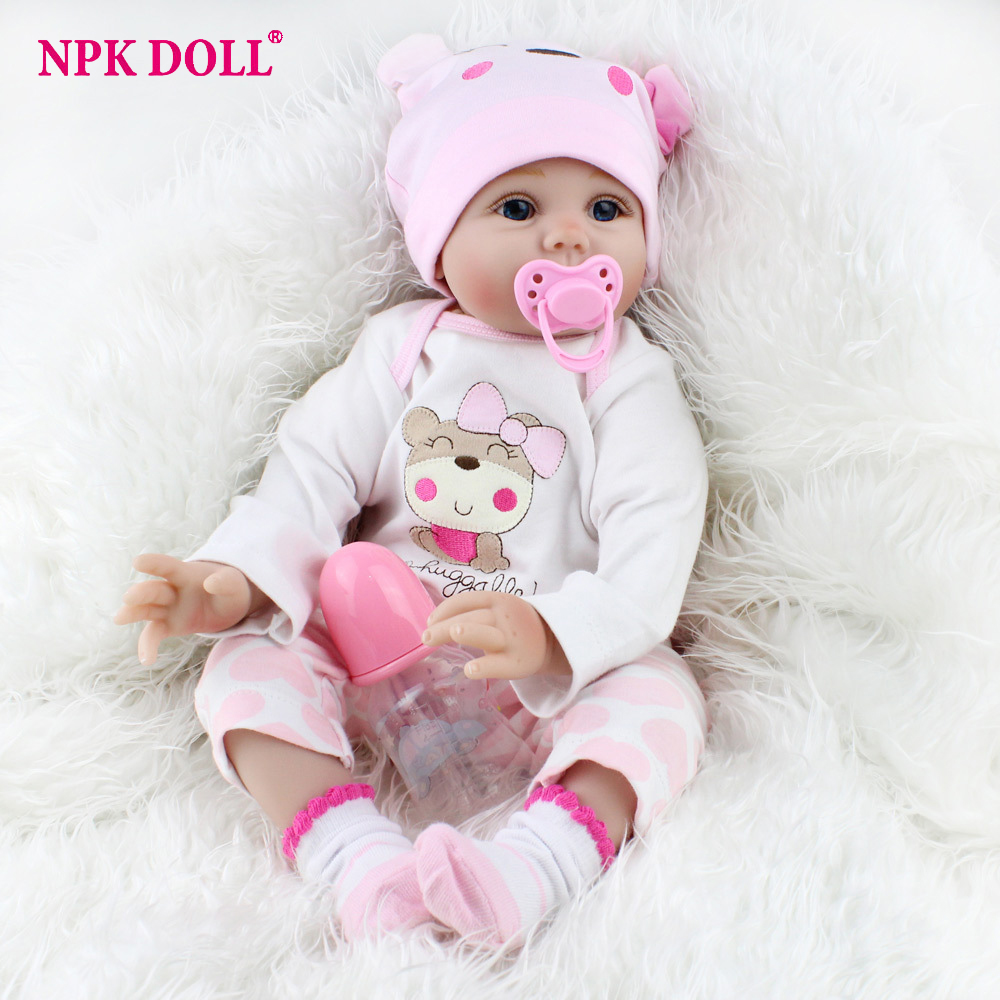 22 inches Realistic Newborn Baby Dolls Soft Body Silicone Vinyl Doll Bebe Bonecas Reborn Real Looking Alive Dolls Girls Gift men letter print side pants