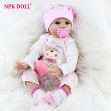 22 inches Realistic Newborn Baby Dolls Soft Body Silicone Vinyl Doll Bebe Bonecas Reborn Real Looking Alive Dolls Girls Gift цена