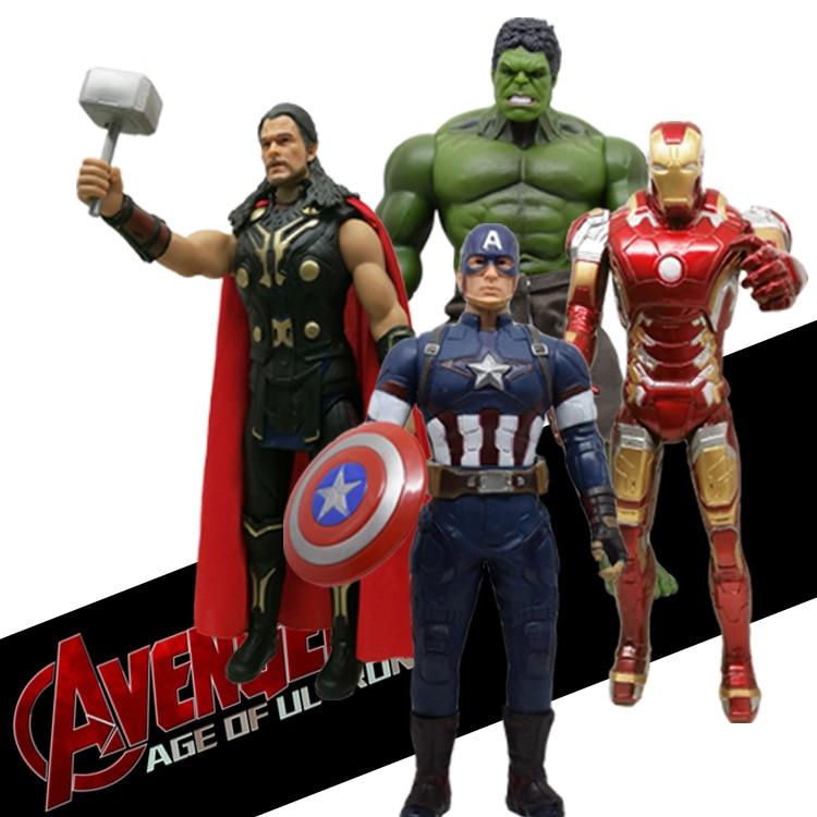 33cm Captain America Hulk Thor Ironman Action Figure toys The Avengers Legends Civil War PVC Action Figure Collectible Model Toy стоимость
