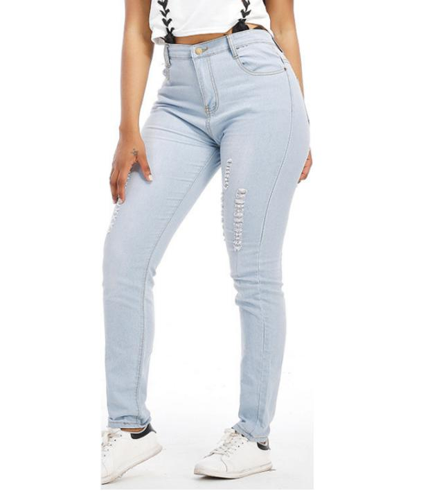 Jeans Women Denim Pants Skinny Ripped Pants High Waist Stretch Jeans Long Pencil Pant Long Trousers nvzhuren solid denim jeans for women high waist elastic long skinny slim jeans trousers plus size spring autumn ladies pants