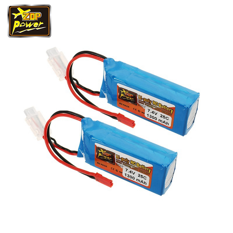 2 PCS ZOP Power 7.4V 1300mah 25C 2S Lipo Battery JST Plug for RC Racing Racer Drone FPV Quadcopter Helicopter Aircraft Accessory