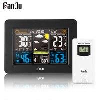 FanJu FJ3365B Wireless Digital Weather Station Color Forecast Alarm And Snooze Thermometer Hygrometer Sensor Multifunction Clock