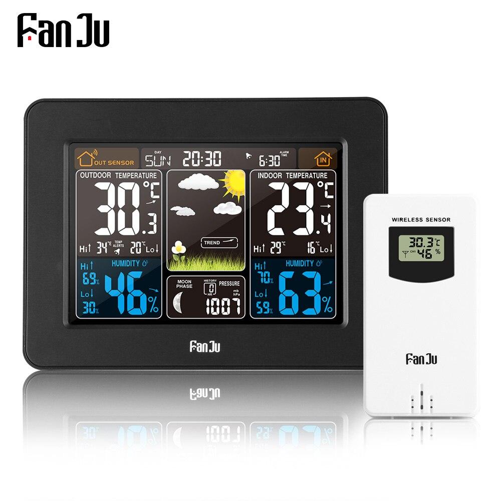 FanJu FJ3365B Alarme Estação Meteorológica Previsão de Cor Digital Sem Fio Ao Ar Livre Indoor Termômetro Higrômetro Sensor de luz de Fundo do Relógio