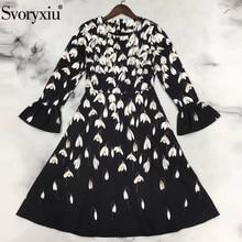 Svoryxiu Runway Designer Autumn Long Sleeve Dress Women Vintage Party Black Magnolia Flower Print Slim Vestdios