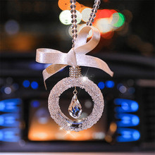 Car Pendant Crystal Pentagram Water Droplets Hanging  Auto Interior Rearview Mirror Decor Dangle Adornment Accessories