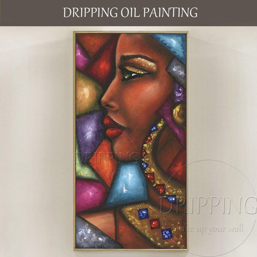 De haute Qualité Mur Art Photos peint à la Main Africain Femme Porter Des Bijoux Peinture À L'huile sur Toile Africaine Riche Dame Huile peinture