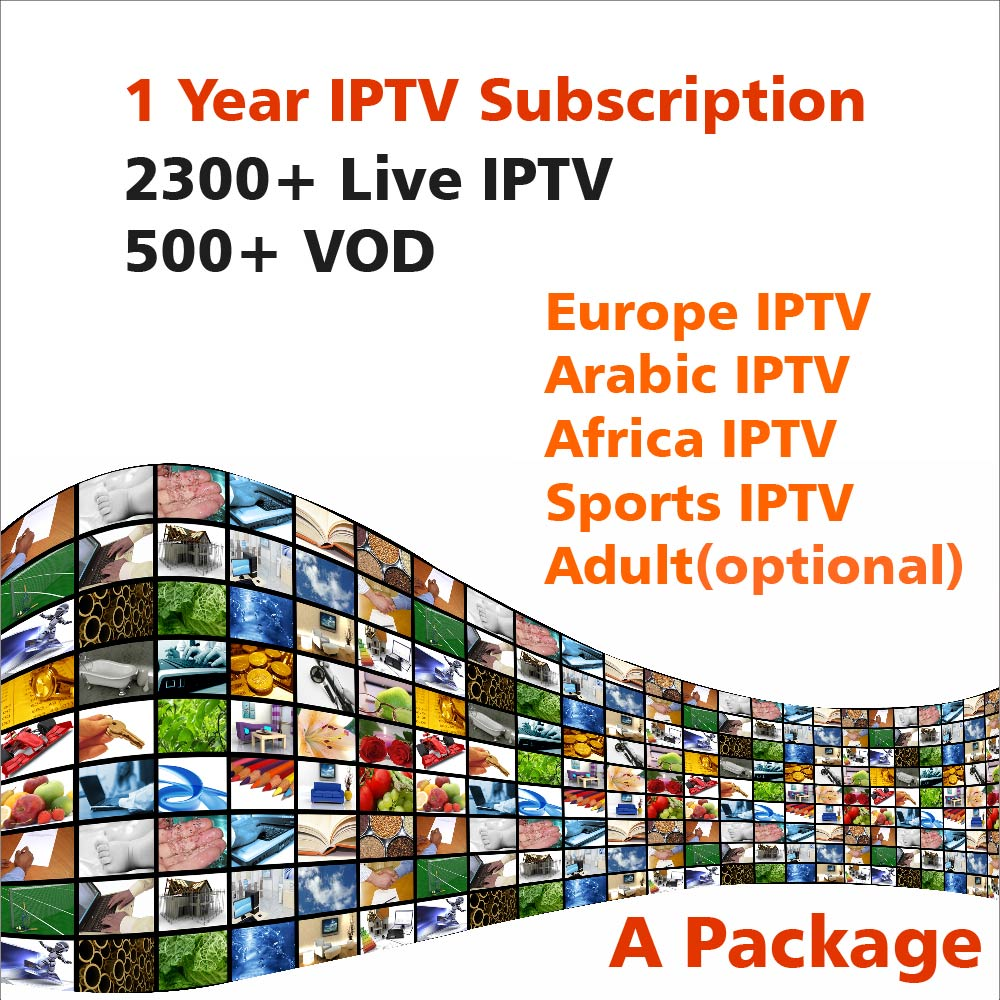 One Year IPTV Subscription 2300+ Live IPTV 500+ VOD by Android APK M3U MAG Enigma2 for Arabic Europe Africa Sports Adult IPTV