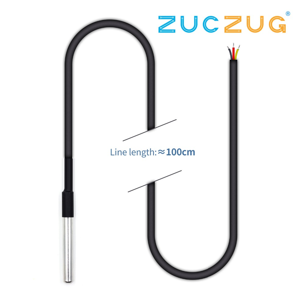 1PCS <font><b>DS1820</b></font> Stainless steel package Waterproof DS18b20 <font><b>temperature</b></font> probe <font><b>temperature</b></font> <font><b>sensor</b></font> 18B20 image