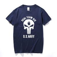 Man Kleding Seal Team Zes ONS MARINE Schedel Gedrukte T-shirt voor Mannen Korte Mouwen O-hals 100% Katoen T-Shirt Tshirt Zomer Tops Tee