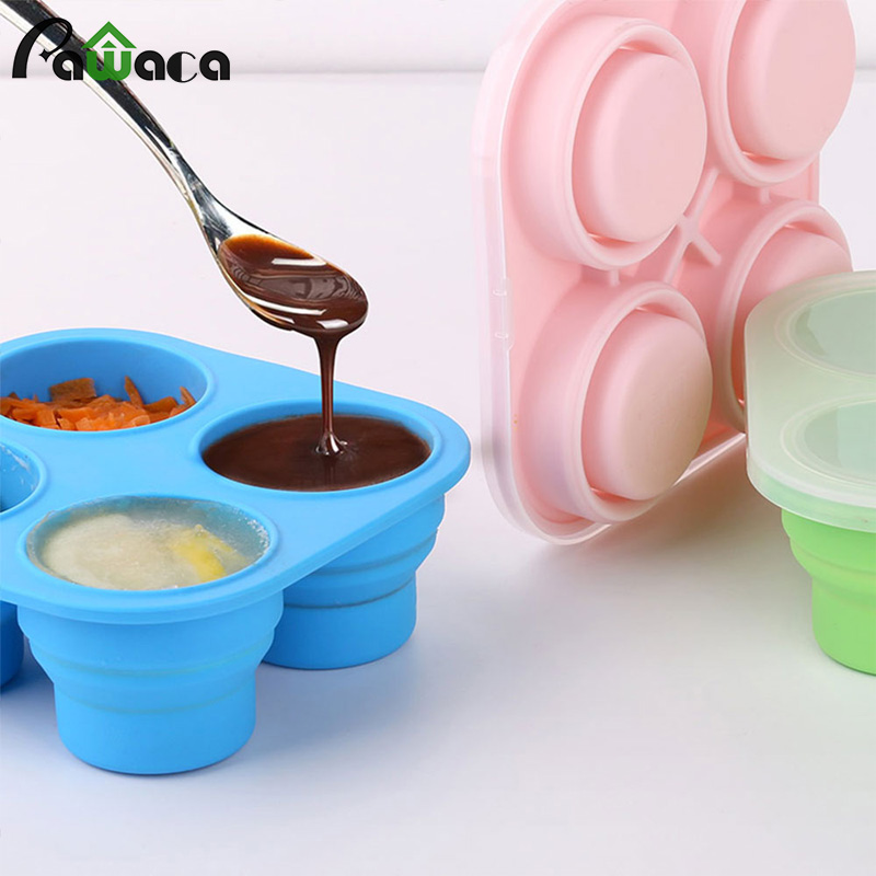Collapsible Silicone Baby Food Freezer Containers Trays
