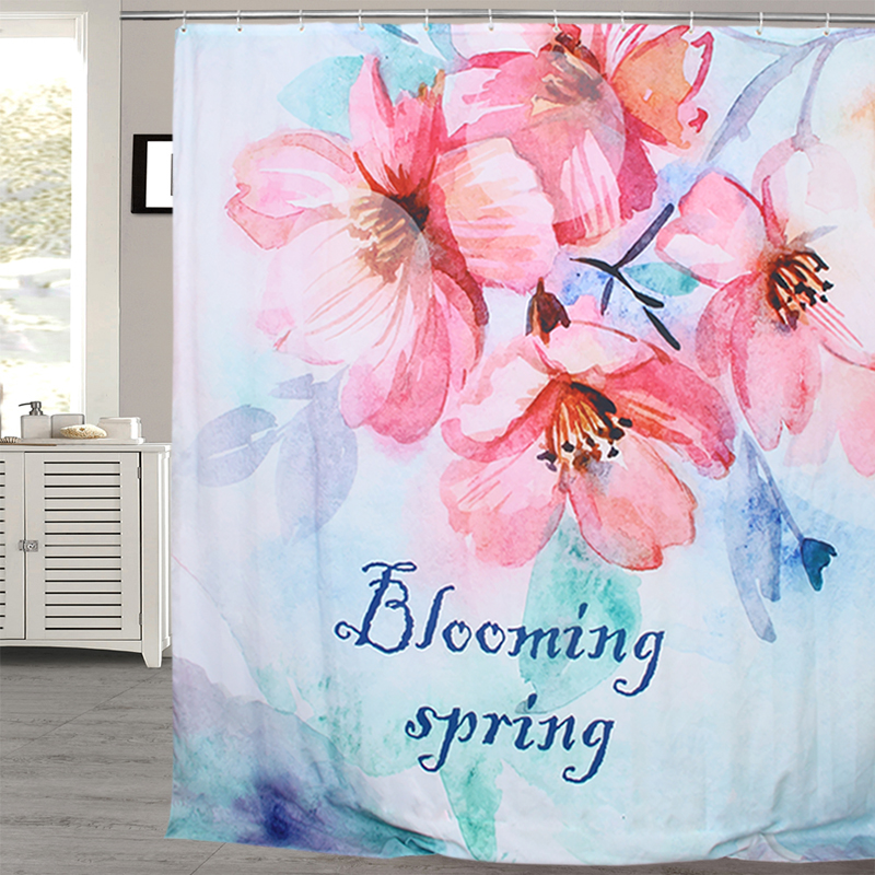 Fabric Polyester Blooming Spring Waterproof Shower Curtains Thicken fabric Bathroom Shower Curtains