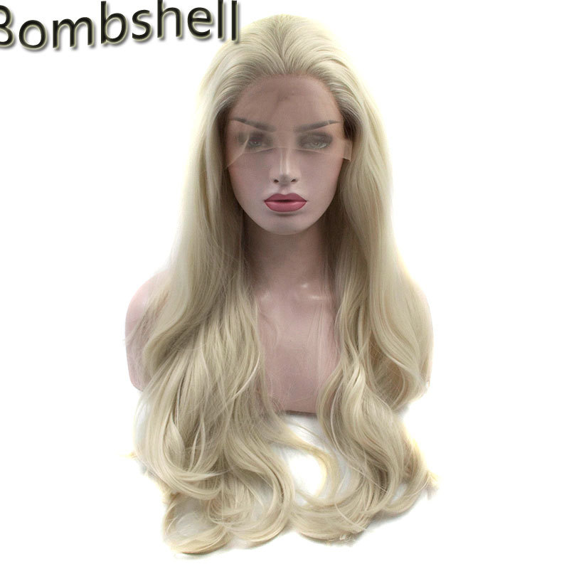 Bombshell White Blonde Long Natural Wave Synthetic Lace Front Wig Glueless Heat Resistant Hair Free Parting