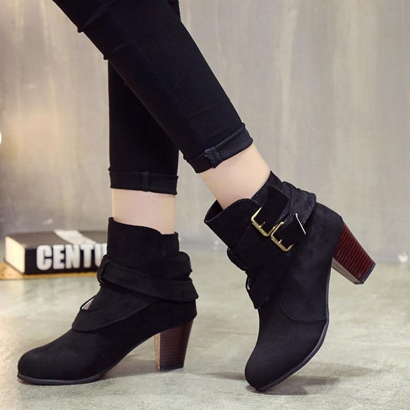 Chaussures Talons marron Noir Femmes Boot Automne Martin Dames De Casual Zipper À Daim Hauts Neige Bottes jaune En 2018 Boucle Mode Hiver H8UqwR6R