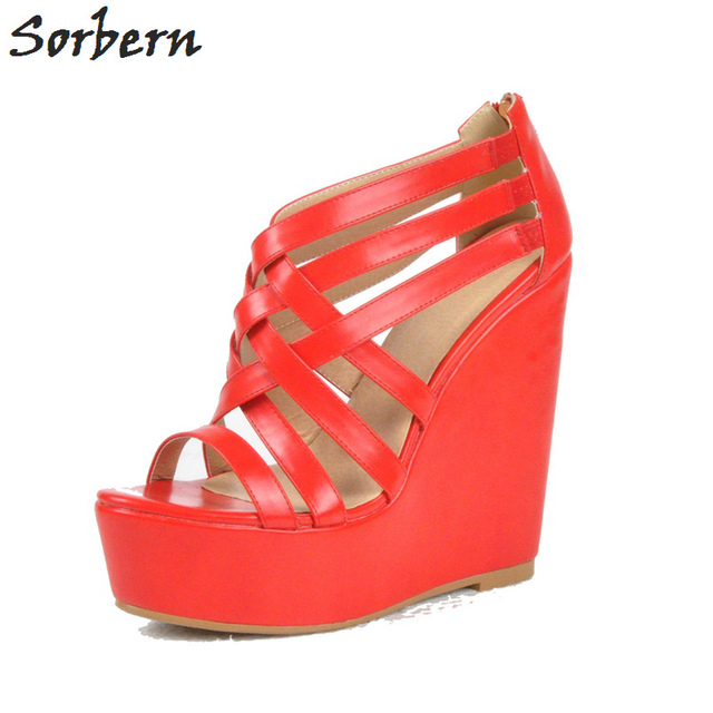 d368ce17e9197 Sorbern Watermelon Women Wedges Sandals Plus Size PU Size 45 Womens High  Heel Shoes Party Shoes Pumps Zapatos Mujer Cheap Shoes