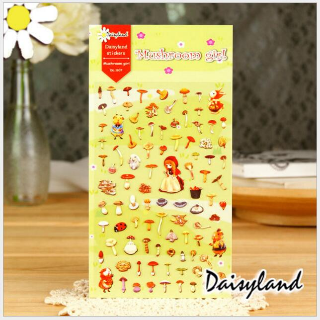 beautiful pluck mushrooms of girl Stickers /DIY scrapbook diary deco stickers/Decorative items/School stationery Supplies WJ0561
