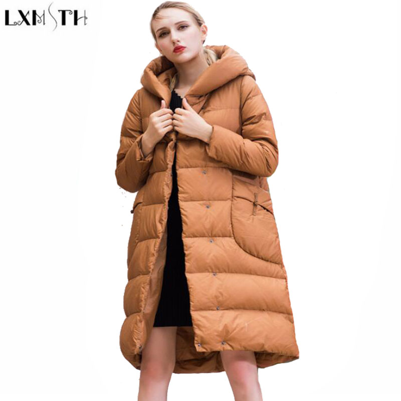 LXMSTH 6XL 7XL Plus Size Cotton-Padded jacket 2017 Winter New Hooded Loose Long Down Women Parkas Thick Warm Wadded Coat 2015 new hot winter cold warm woman down jacket coat parkas outerwear hooded loose luxury long plus size 2xxl splice cloak