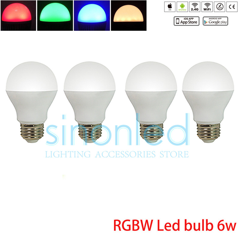 4x 2.4G 6w Bulb Wifi Led bulb E27 wireless RGB+Warm/Cold White adjustable Dimmable wifi control via RF remote,Phone app oobest new sonoff b1 smart wifi dimmable e27 led lamp rgb color light timer bulb remote turn on off via app 600lm energy saving
