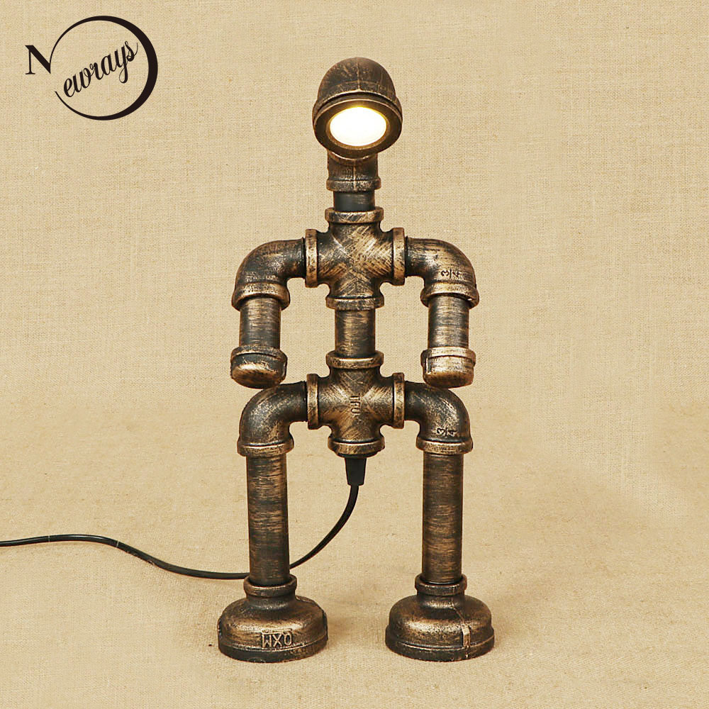 Retro iron metal robot desk light with switch table lamp modern include LED bulb 220V for bedside study foyer bed room bar cafe
