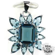 Real 925 Solid Sterling Silver 2.6g Dark London Blue Topaz Womans Pendant 26x19mm
