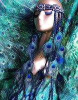 Orijinal Halk tarzı el yapımı Bohemia ethinic Indios kabileler Peacock Feather Kafa boncuklu saç peruk örgüler dans Aksesuarları