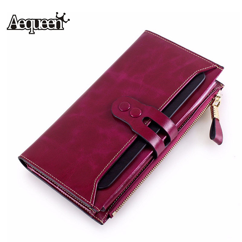 AEQUEEN Genuine Leather Women Wallets With Phone Pocket Purse For Ladies Cowhide Coin Purse Lady Long Purses Female Clutches