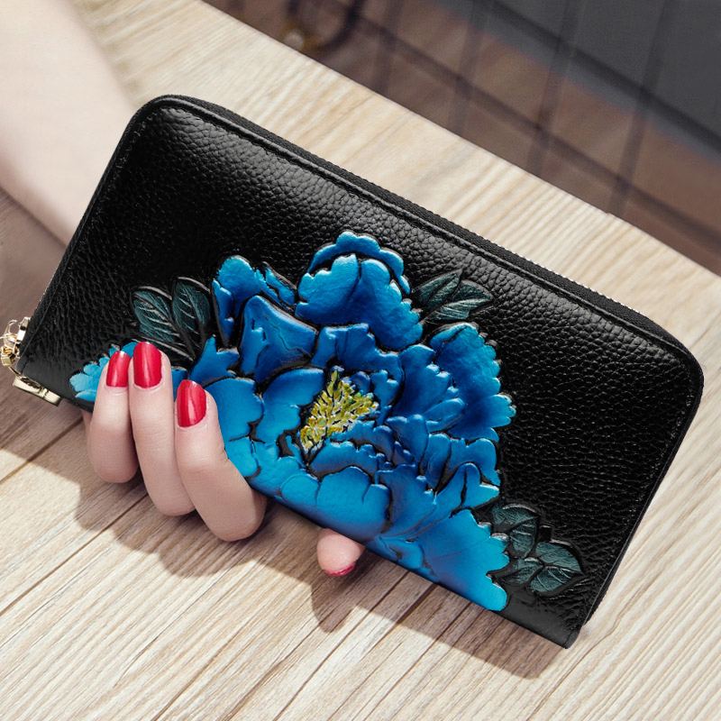 цены WERLO Women Wallets Genuine Leather Female Long Clutch Fashion Ladies Coin Purses Card Holders Luxury Brand Hasp Clutch Purse
