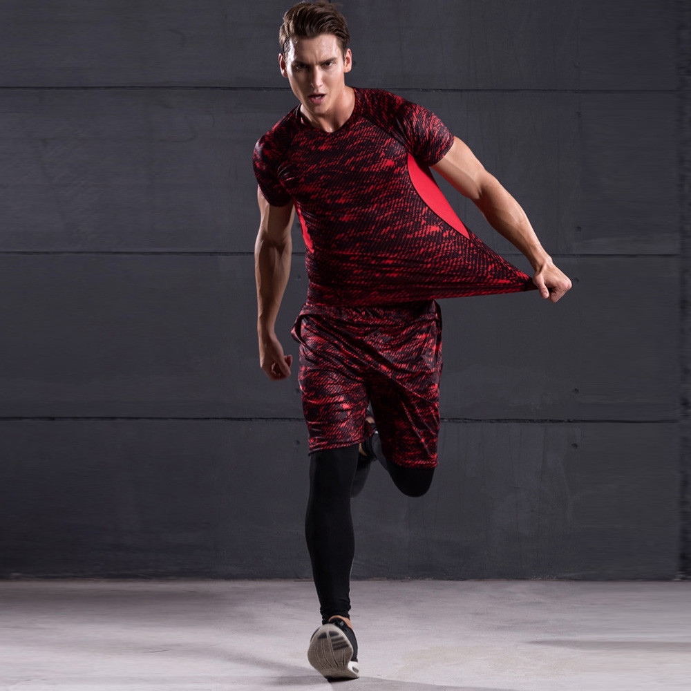 Man Male Bike Bicycle Cycling Set Camouflage Slim Workout Leggings Fitness Sports Gym Running Jogging Athletic Kit Set A1