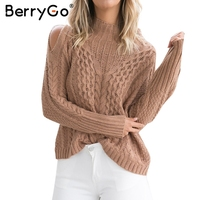 BerryGo Cold Shoulder Knitting Pullover Casual Autumn Winter Sweater Women Hollow Out High Neck Twist Jumper
