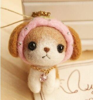 Pink hat puppy cartoon set wool needlepoint kit wool felt needle felting keychain craft needlecraft DIY handmade
