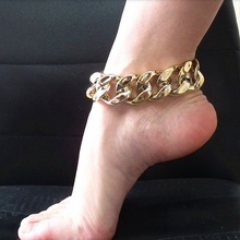 Stylish 1Piece Gold Color Big Thick Chain Anklet Foot Bracelet for Women 3.5cm Width