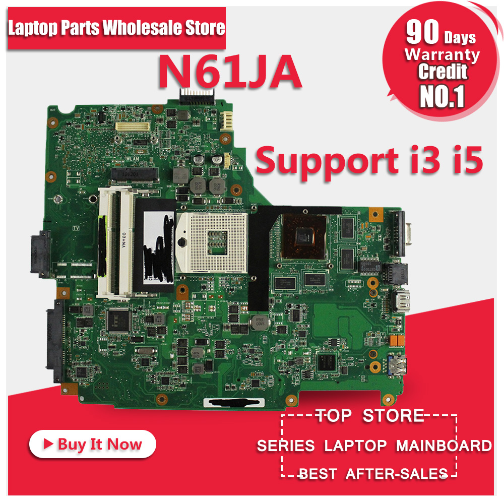 free shipping for ASUS N61JA laptop motherboard mainboard N61JA  support i3 I5 cpu 100% Tested & Guaranteed for asus x45vd motherboard laptop mainboard with cpu i3 4gb ram slots tested well free shipping