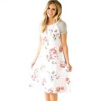 ELSVIOS Summer Floral Printed Loose A-Line Dress Women O Neck Short Sleeve Patchwork Dresses Casual Sundress Female Vestidos 1