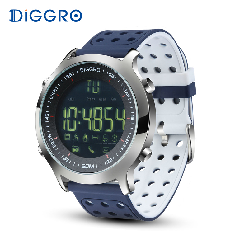 Diggro EX18 Smart Watch Men Sport Watch 5ATM Waterproof Bluetooth SmartWatch Pedometer Call reminder Stopwatch for Android IOS makibes ex18 smart watch silver
