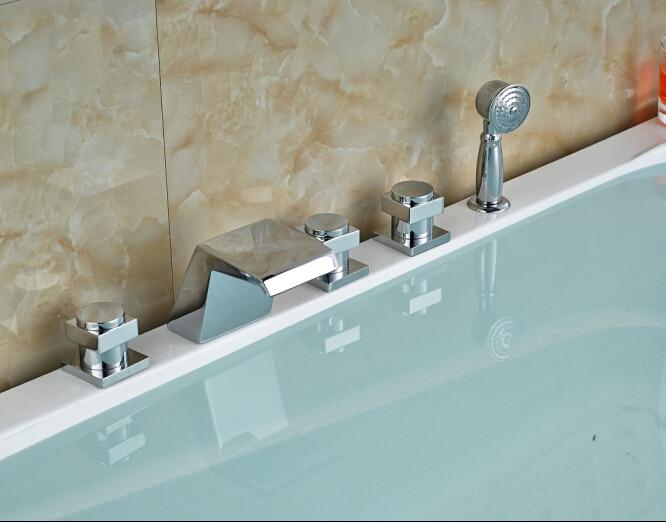 Luxury Chorme Brass Faucet Three Handles Tap Vessel Bathtub Faucet Deck Mounted Shape Faucet elegant chorme bathroom faucet deck mounted shape faucet three handles mixer tap