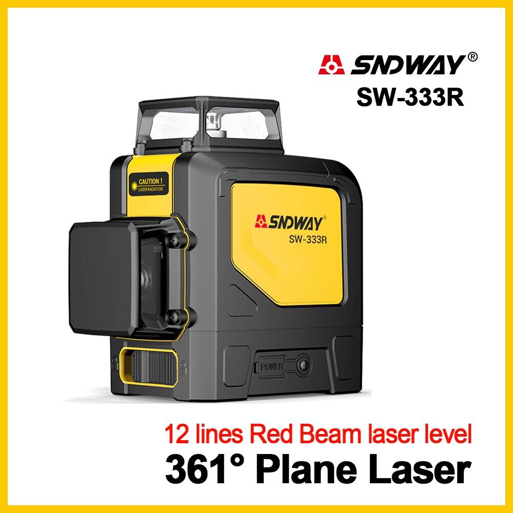 SNDWAY Laser Niveaux Laser Niveau 360 Degrés Vert Laser Niveau 3D Rotatif Auto Nivellement Vertical Horizontal 12 lignes Laser Niveleur