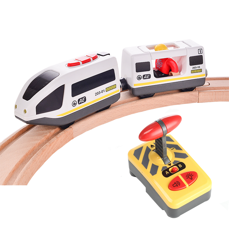 RC Electric Train Set With Carriage Sound And Light  Express Truck FIT Wooden Track Children Electric Toy Kids Toys