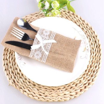 50 Pack Natural Burlap Napkin Holders Cutlery Pouch for Vintage Wedding Decor Bridal Shower Party Table Decoration Jute Cutlery