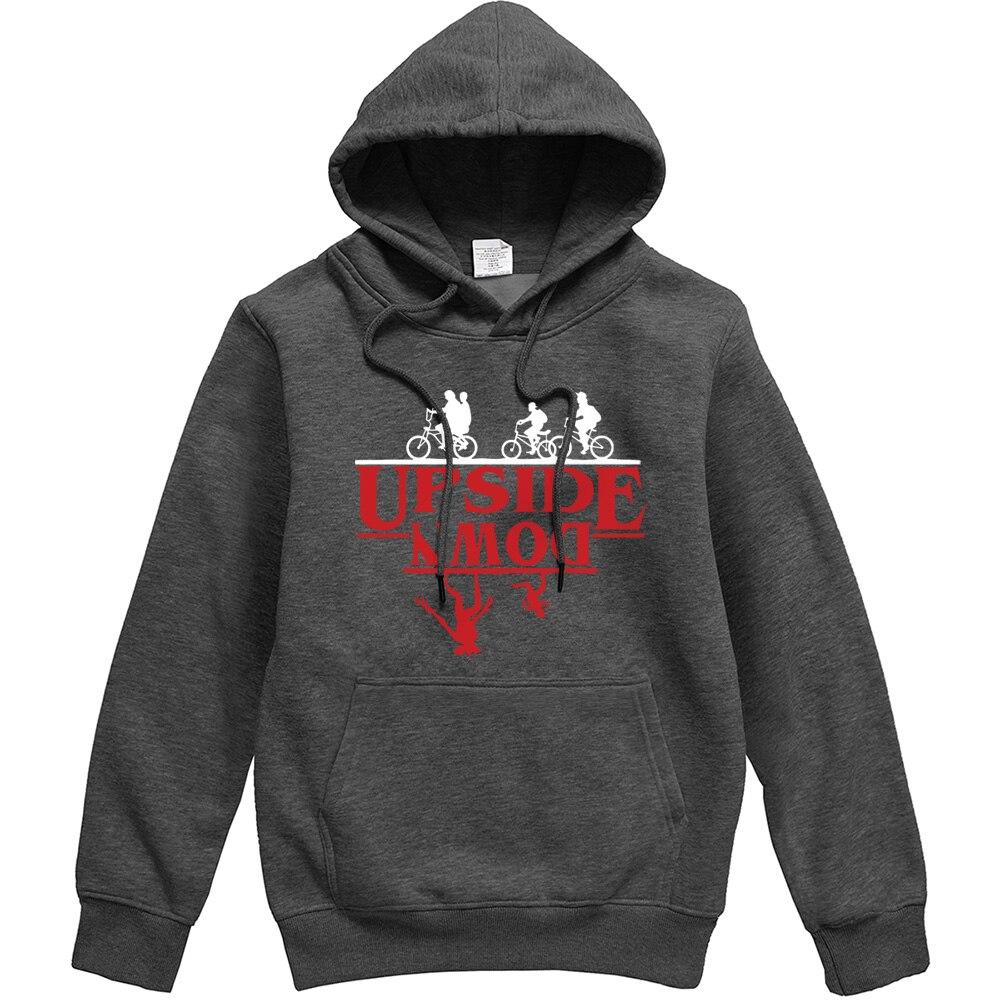 UPSIDE DOWN Creative Funny Printed Men Hoodies 2019 Autumn Winter Fleece Sweatshirt Stranger Things Hip Hop Streetwear Men Hoody in Hoodies amp Sweatshirts from Men 39 s Clothing